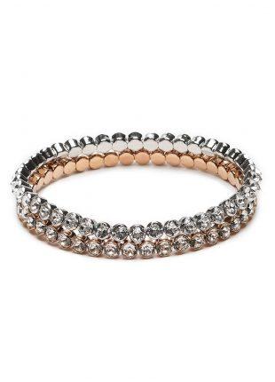 Abrazi armband set Rhodium Rose